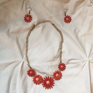 Matching Flower Necklace and Earring Set